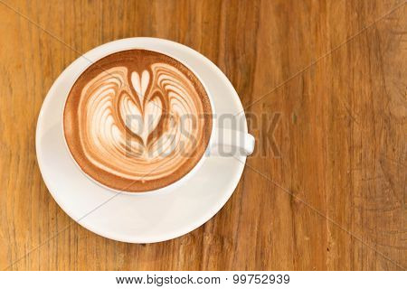 Hot Chocolate Cocoa With Heart Of Latte Art