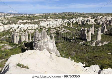 Rocks in the valley of love. Cappadocia. Turkey