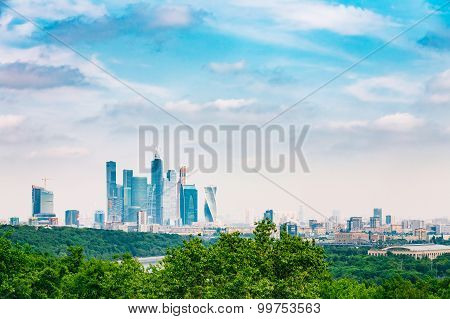 Panoramic View Of Moscow City Complex Of Skyscrapers From Sparro