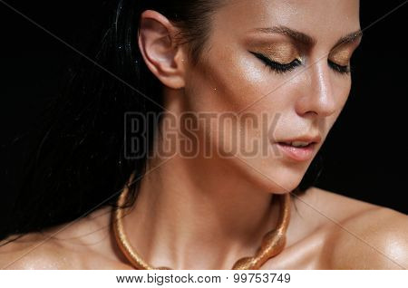 Close Up Fashion Portrait Of Shining Glamourous Woman On Black Background