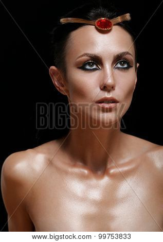 Fashion Portrait Of Attractive Glamourous Woman On Black Background
