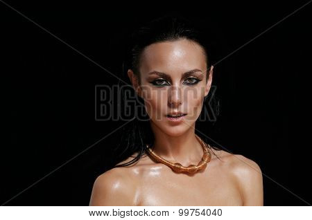 Fashion Portrait Of Glamourous Woman On Black Background