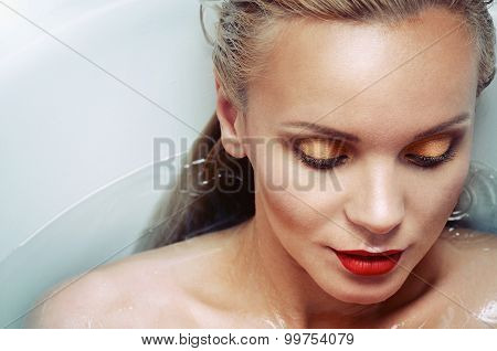 Fashion Portrait Of Sensual Glamourous Woman In Water