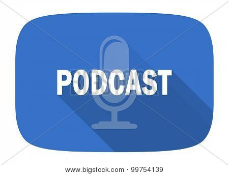 podcast flat design modern icon with long shadow for web and mobile app
