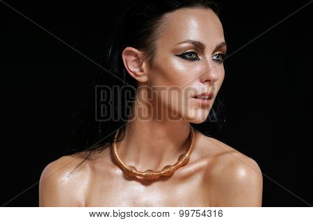 Fashion Portrait Of Shining Woman On Black Background