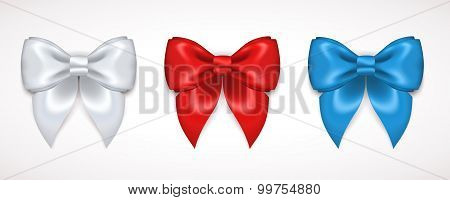 Set Of Silk White, Red And Blue Bows