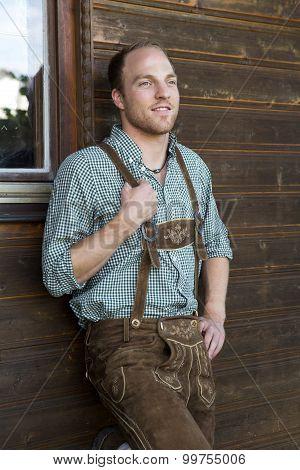 Young Man In Bavarian Lederhosen