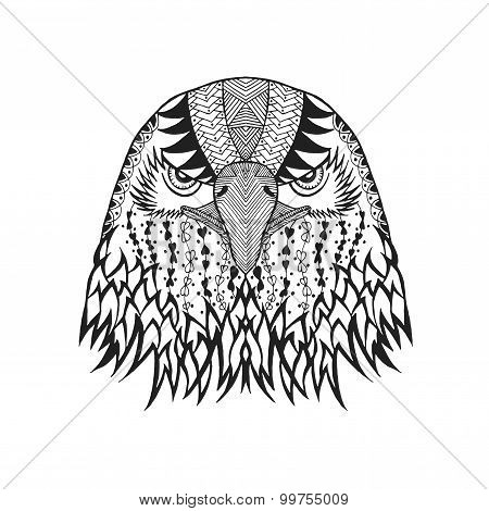Zentangle Stylized Eagle Head. Sketch For Tattoo Or T-shirt.