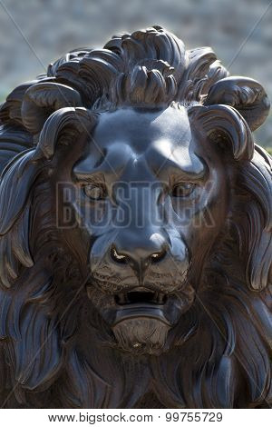 Face Of A Lion Sculpture Made Of Bronze,  Lübeck, Germany