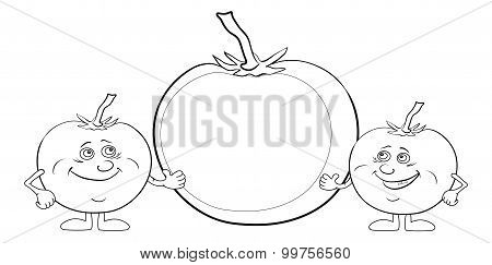 Character tomatoes and poster, outline