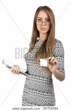 Young business lady gives business card