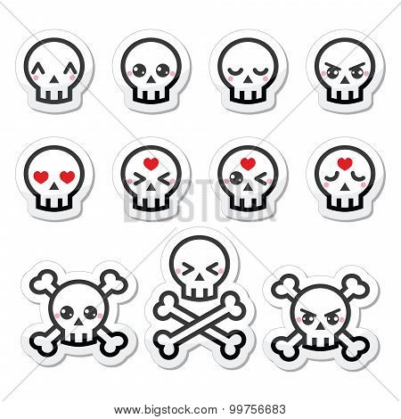 Kawaii cute Halloween skull labels set
