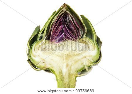 Half Artichoke, Showing The Heart And Choke Under The Leaves, Isolated On White