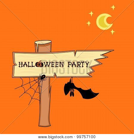 Vector bat and Halloween singpost on orange background