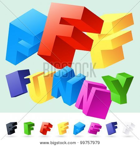 Vector 3D font of randomly rotated colourful letters. All letters in alphabet have 8 random points of view. Letter F