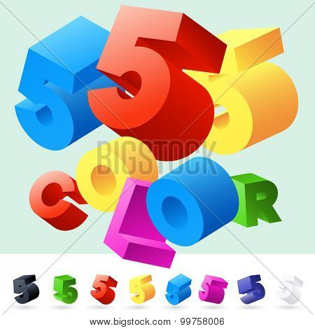 Vector 3D font of randomly rotated colourful letters. All letters in alphabet have 8 random points of view. Number 5