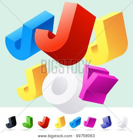 Vector 3D font of randomly rotated colourful letters. All letters in alphabet have 8 random points of view. Letter J