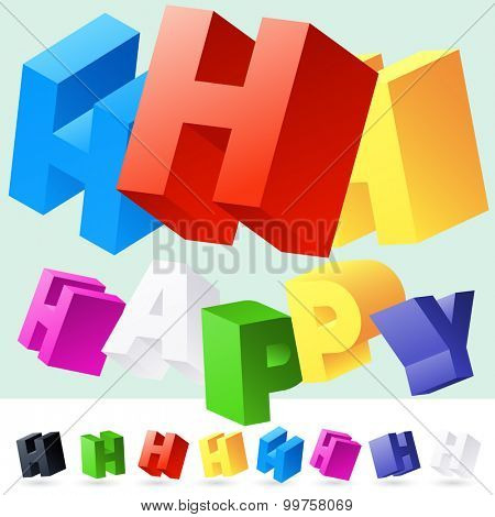 Vector 3D font of randomly rotated colourful letters. All letters in alphabet have 8 random points of view. Letter H
