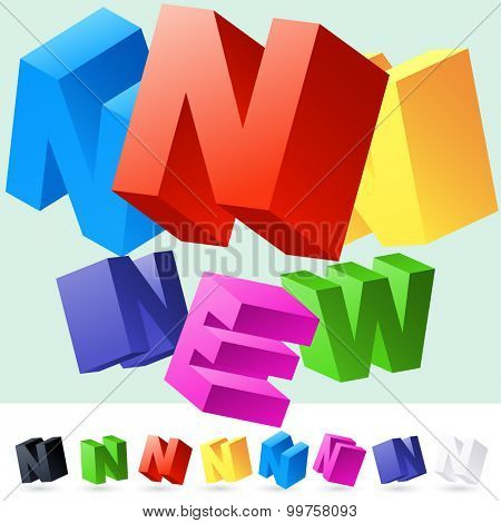 Vector 3D font of randomly rotated colourful letters. All letters in alphabet have 8 random points of view. Letter N