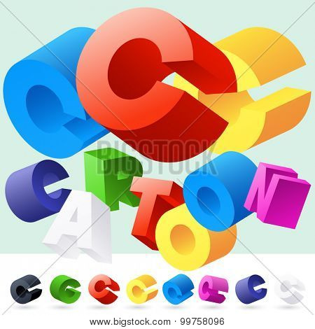 Vector 3D font of randomly rotated colourful letters. All letters in alphabet have 8 random points of view. Letter C