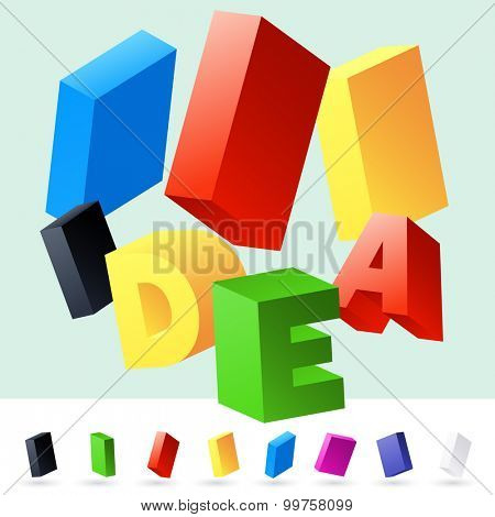 Vector 3D font of randomly rotated colourful letters. All letters in alphabet have 8 random points of view. Letter I
