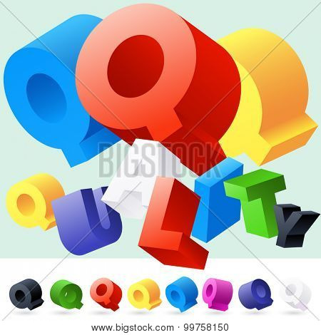 Vector 3D font of randomly rotated colourful letters. All letters in alphabet have 8 random points of view. Letter Q