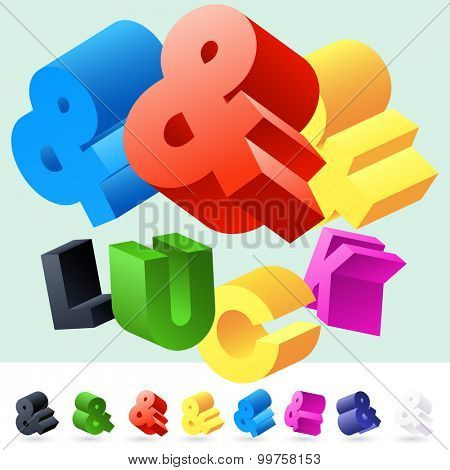 Vector 3D font of randomly rotated colourful letters. All letters in alphabet have 8 random points of view. Symbols