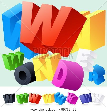 Vector 3D font of randomly rotated colourful letters. All letters in alphabet have 8 random points of view. Letter W