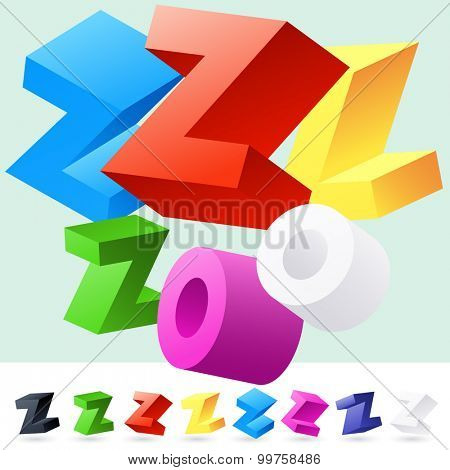 Vector 3D font of randomly rotated colourful letters. All letters in alphabet have 8 random points of view. Letter Z