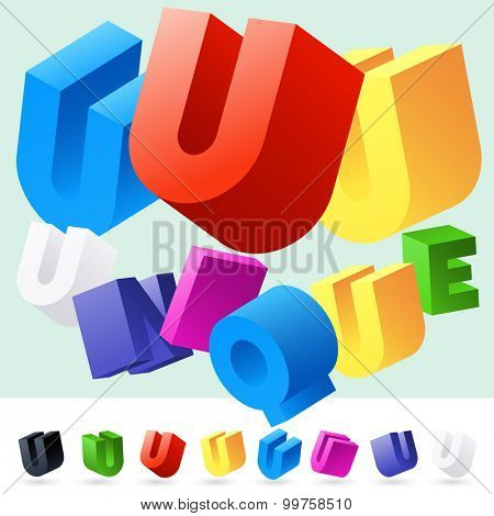 Vector 3D font of randomly rotated colourful letters. All letters in alphabet have 8 random points of view. Letter U