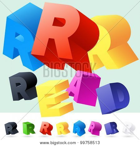 Vector 3D font of randomly rotated colourful letters. All letters in alphabet have 8 random points of view. Letter R