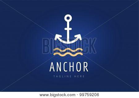 Anchor vector logo icon. Sea, sailor symbols