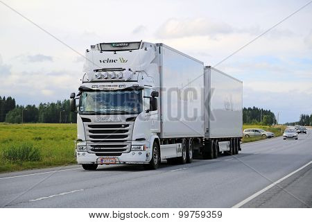 Scania G450 Reefer Truck On The Road