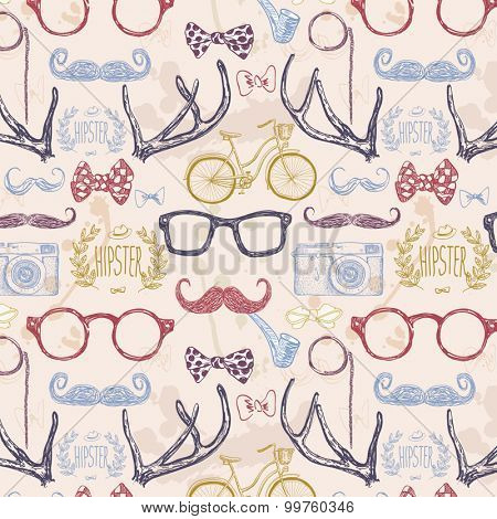Vector hipster seamless pattern,