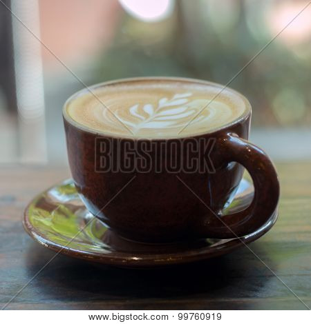 Hot Coffee Cup On Wood Table Background