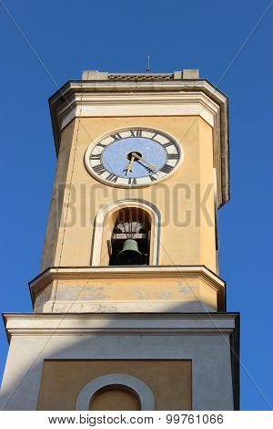 Church Tower In Eze. Blue Sky Background