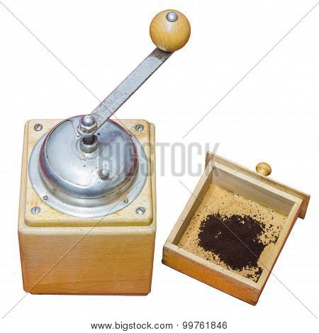 Coffee Mill Isolated On White Background With Clipping Path