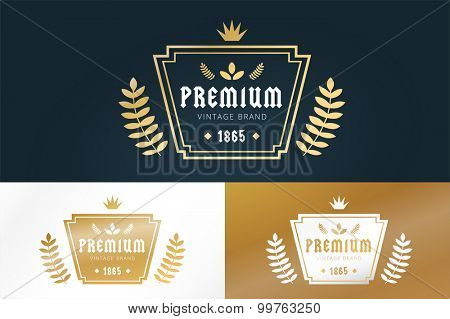 Royal vintage premium logo badge icon template. Crown logo. Letter logo. Royal hotel, Premium boutique, Fashion logo, Education logo, Wine logo, Shield logo, VIP logo. School or University logo