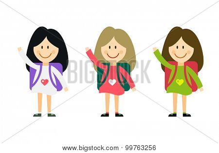 Vector cute cartoon girl with school uniform isolated on white. Back to school background. School uniform, university, preschool and education, small kids, teens,  smile face, people silhouette