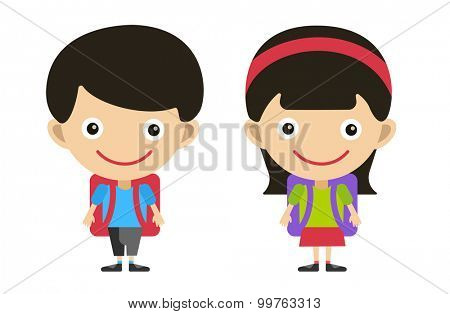 Vector cute cartoon boy and girl with school uniform isolated on white. Back to school background. School uniform, university, preschool and education, small kids, teens,  smile face, people