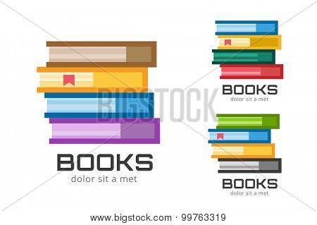 Books vector logo icons set. Sale background. Book logo. Book open. Back to school background. Education, university, college symbol or knowledge, books stack, publish, page paper. Book icons isolated