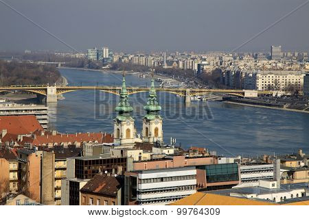 View to Danube river and Margit hid, Budapest, Hungary