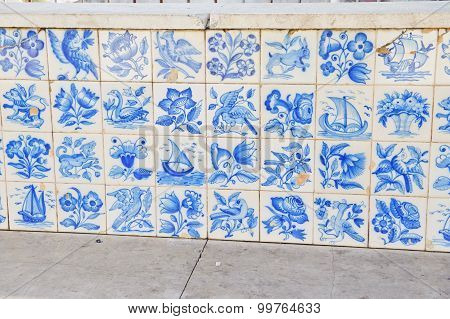 Old Wall With Ceramic Old Tile Design