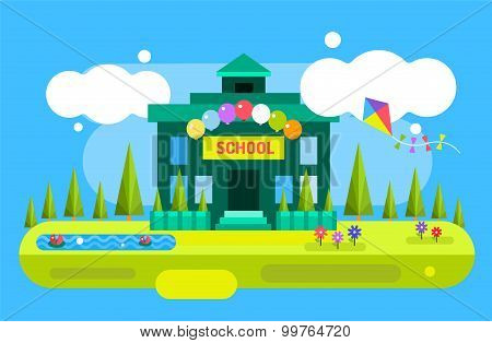 Cute vector cartoon school building illustration background