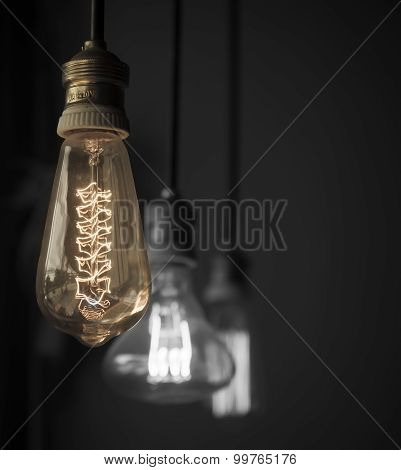 Hanged Light Bulbs Split Tone Color With Black And White
