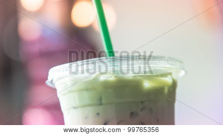 Ice Matcha Latte Cup In Cafe Pastel Tone