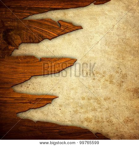 old paper with cracked wood background