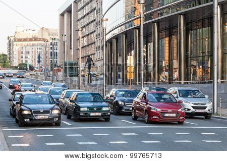 Cars In The Street Of Brussels