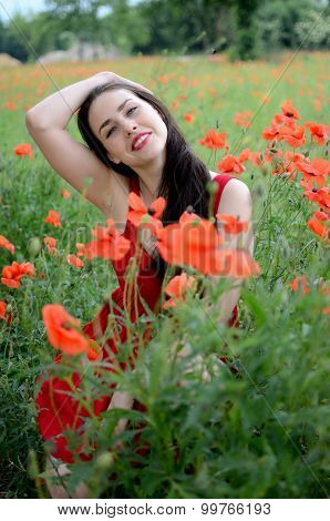 Smiling Girl With Poppies