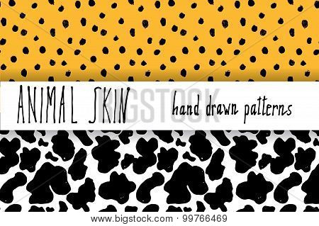 Animal Skin Hand Drawn Texture, Vector Seamless Pattern Set, Sketch Drawing Leapard Dots And Cow Ski